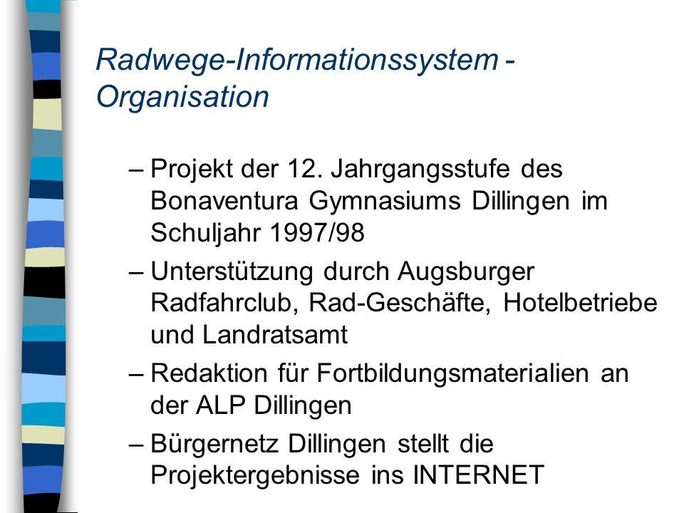 Radwege-Informationssystem - Organisation
