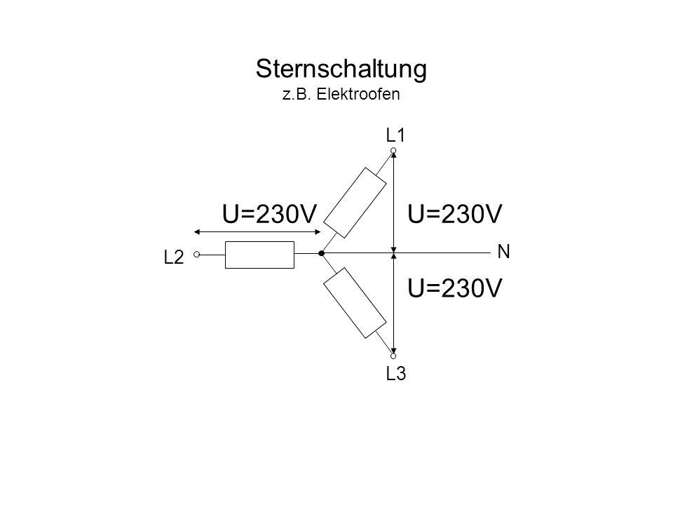 Sternschaltung z.B. Elektroofen L1 U=230V U=230V N L2 L3