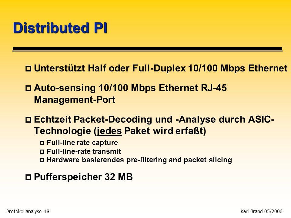 Distributed PI Unterstützt Half oder Full-Duplex 10/100 Mbps Ethernet
