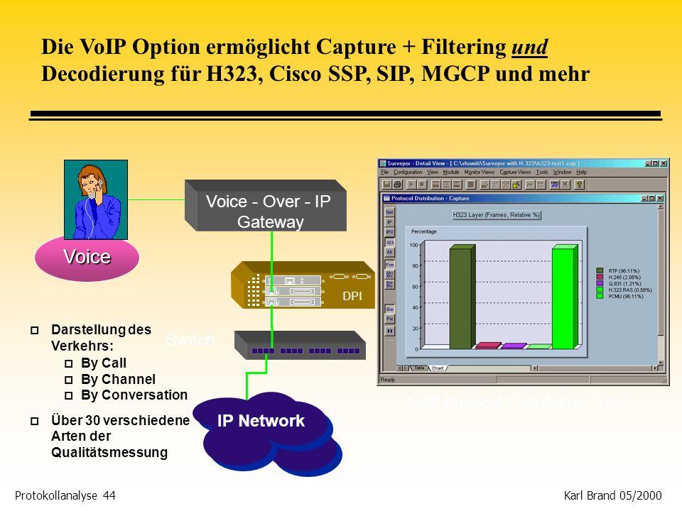 Die VoIP Option ermöglicht Capture + Filtering und Decodierung für H323, Cisco SSP, SIP, MGCP und mehr