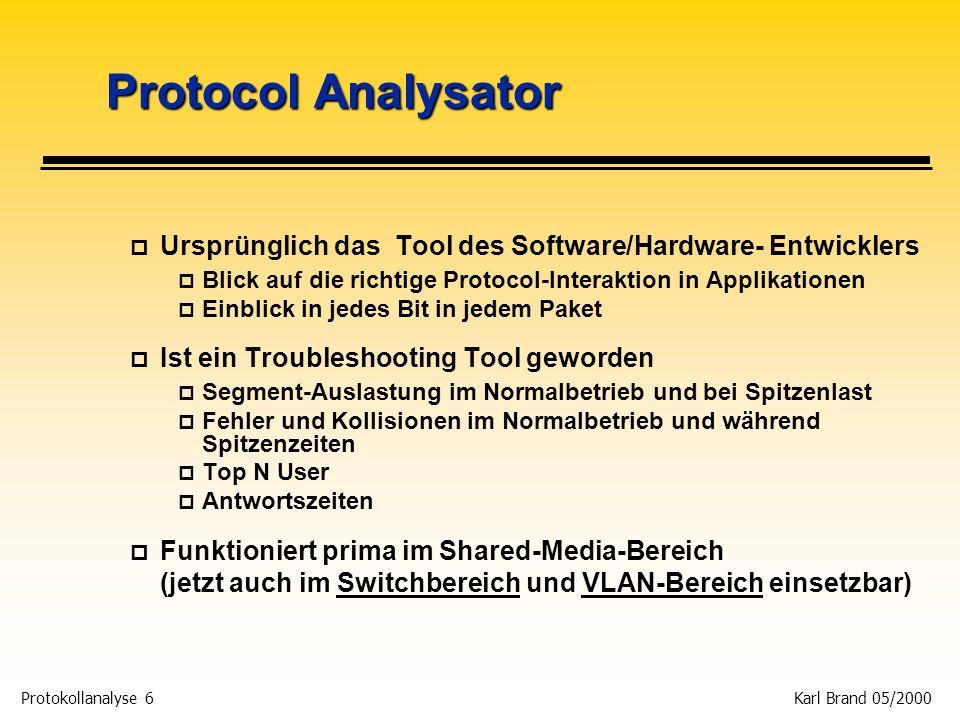 Protocol Analysator Ursprünglich das Tool des Software/Hardware- Entwicklers. Blick auf die richtige Protocol-Interaktion in Applikationen.