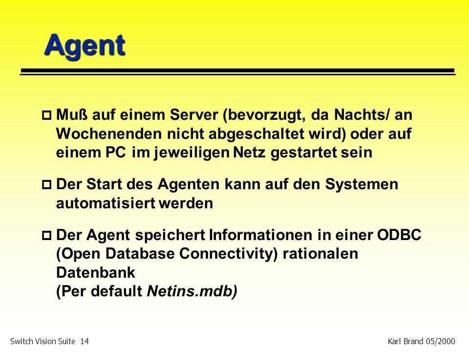 Agent Muß auf einem Server (bevorzugt, da Nachts/ an Wochenenden nicht abgeschaltet wird) oder auf einem PC im jeweiligen Netz gestartet sein.