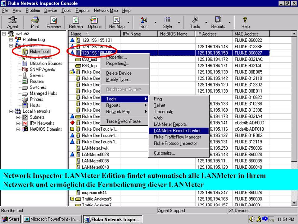 Network Inspector LANMeter Edition findet automatisch alle LANMeter in Ihrem Netzwerk und ermöglicht die Fernbedienung dieser LANMeter