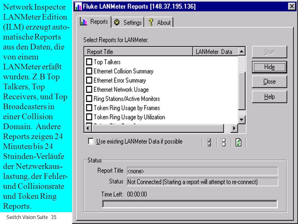 Network Inspector LANMeter Edition (ILM) erzeugt auto-matische Reports aus den Daten, die von einem LANMeter erfaßt wurden.
