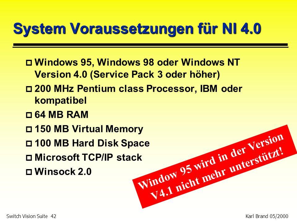 System Voraussetzungen für NI 4.0