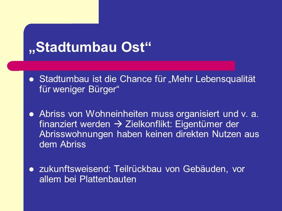 """""""Stadtumbau Ost Stadtumbau ist die Chance für """"Mehr Lebensqualität für weniger Bürger"""