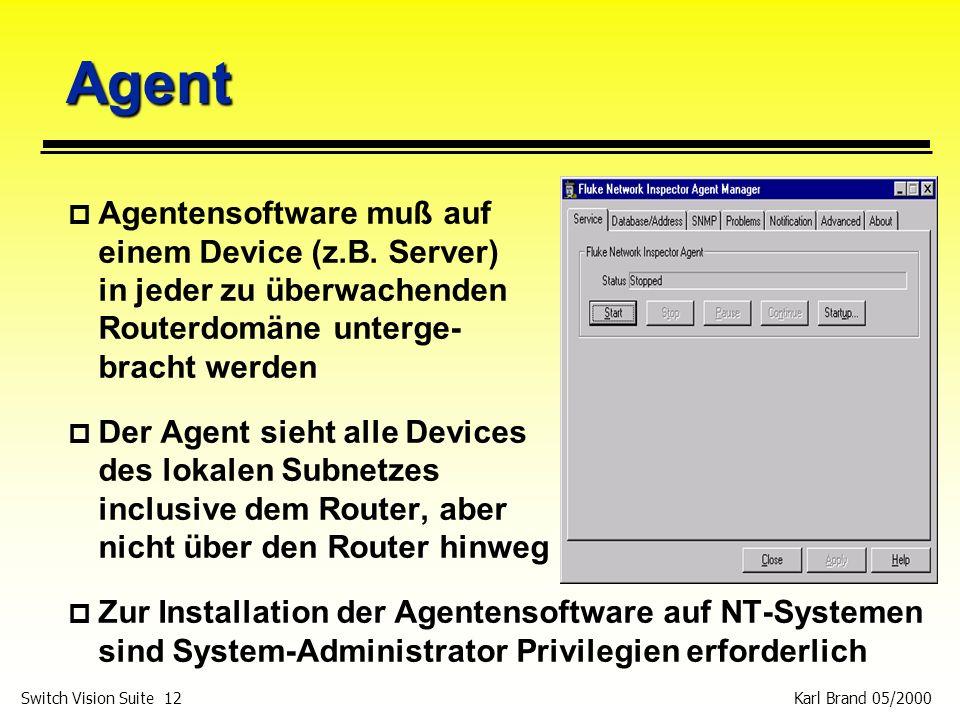 Agent Agentensoftware muß auf einem Device (z.B. Server) in jeder zu überwachenden Routerdomäne unterge- bracht werden.