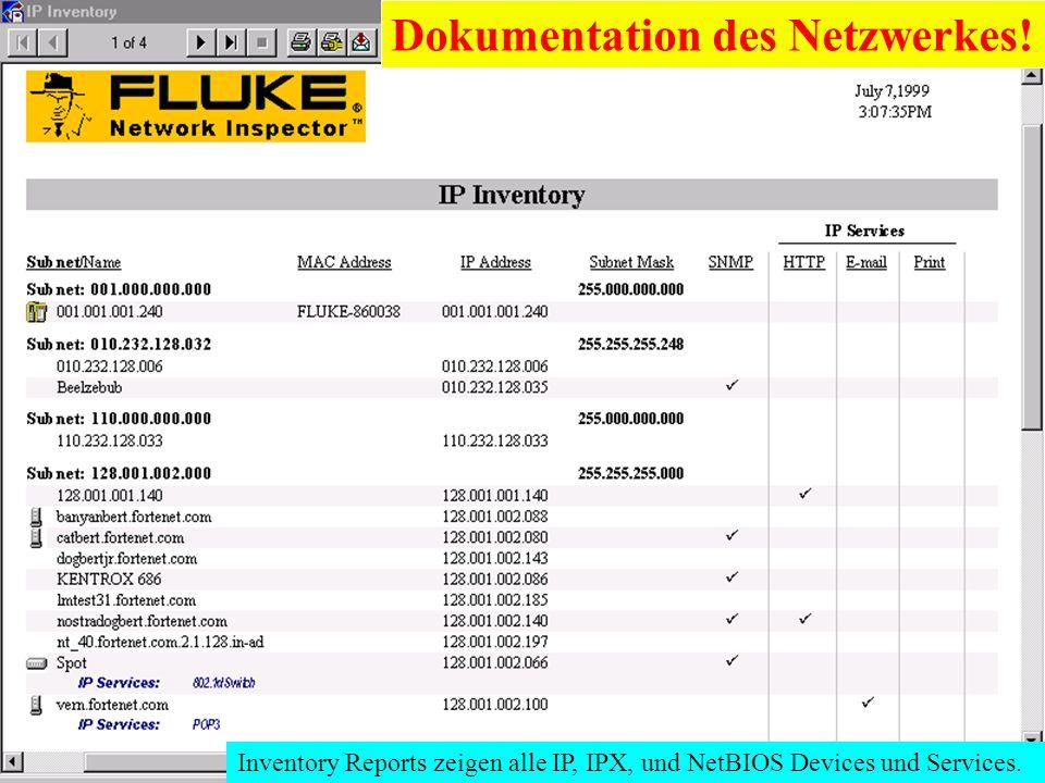 Dokumentation des Netzwerkes!