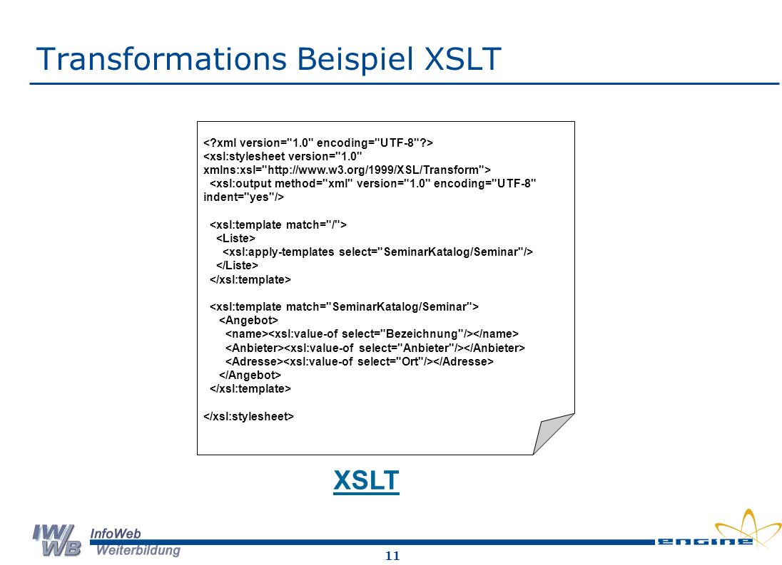 Transformations Beispiel XSLT