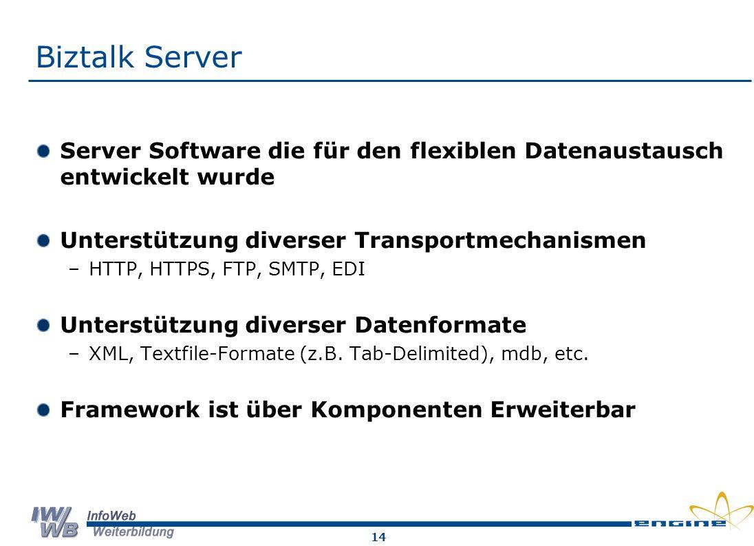 Biztalk Server Server Software die für den flexiblen Datenaustausch entwickelt wurde. Unterstützung diverser Transportmechanismen.