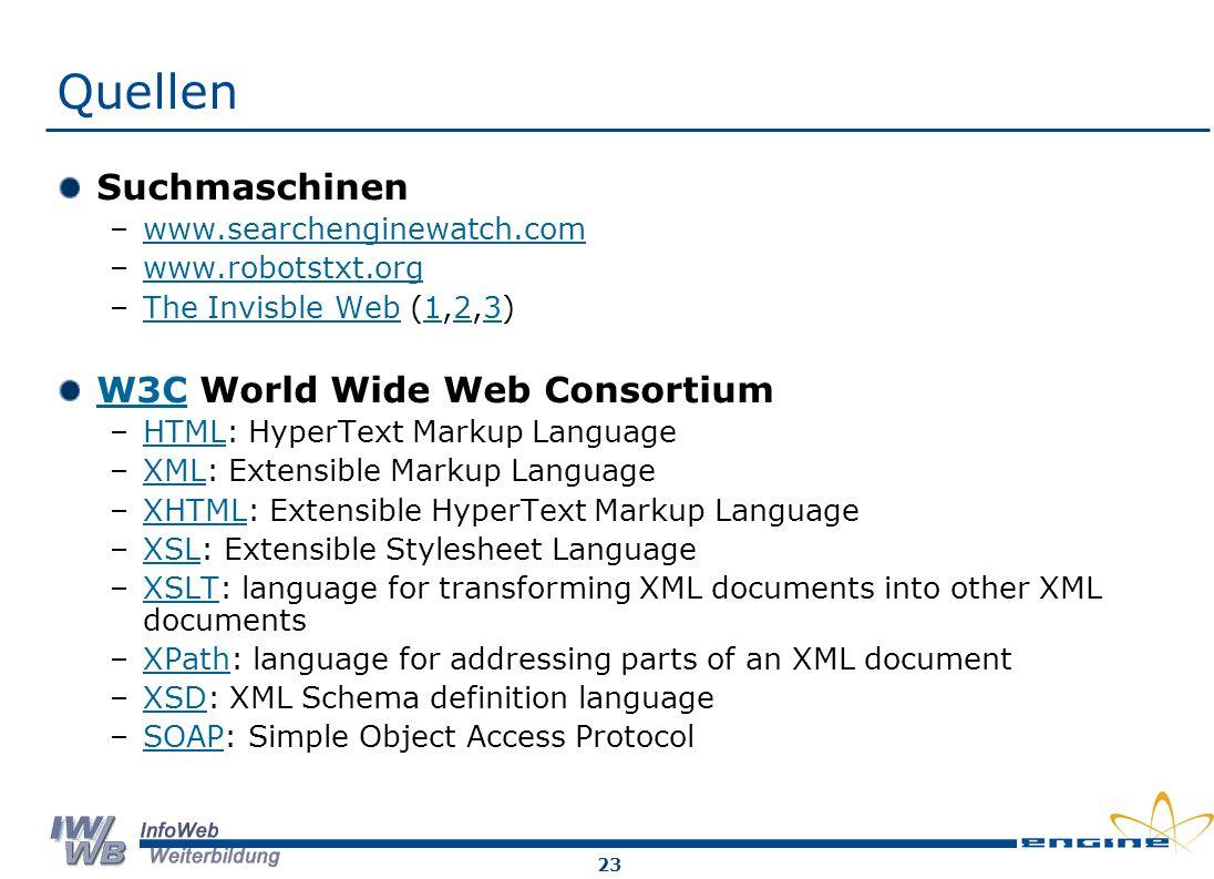 Quellen Suchmaschinen W3C World Wide Web Consortium