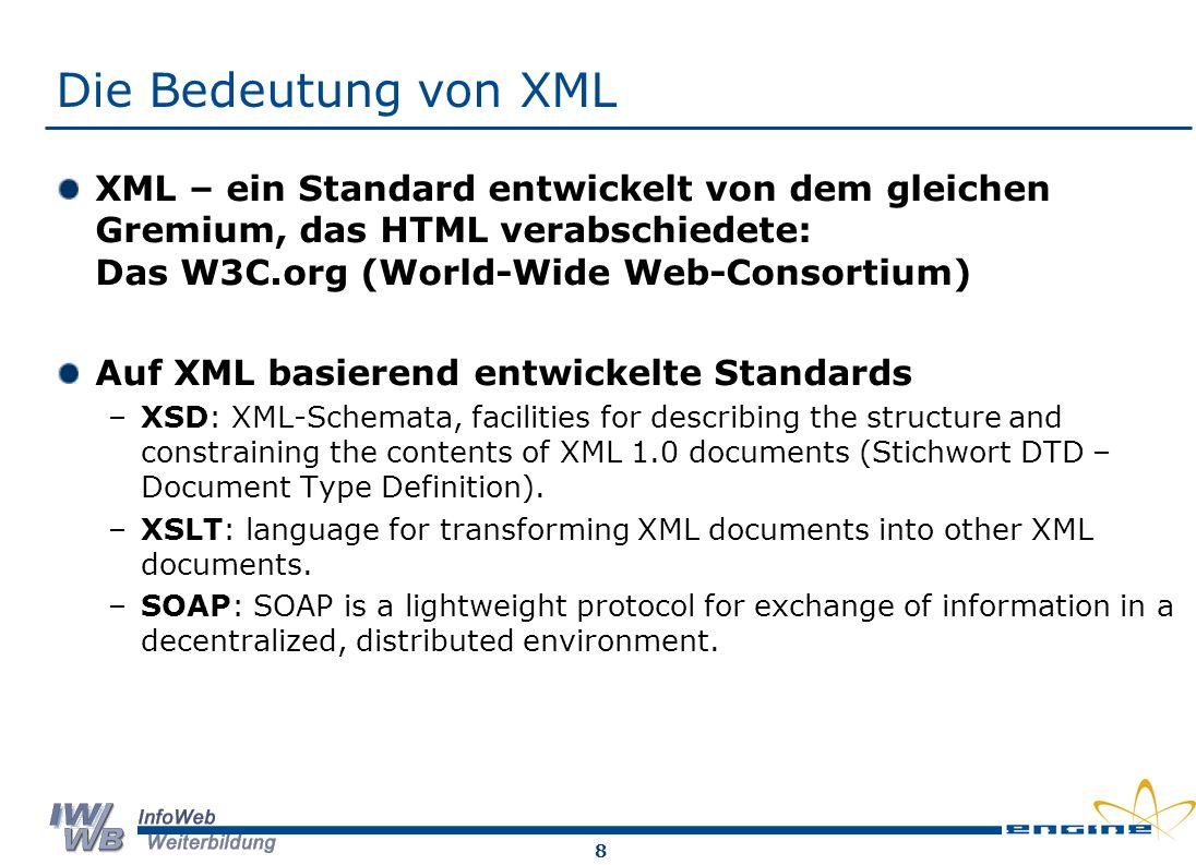 Die Bedeutung von XML XML – ein Standard entwickelt von dem gleichen Gremium, das HTML verabschiedete: Das W3C.org (World-Wide Web-Consortium)