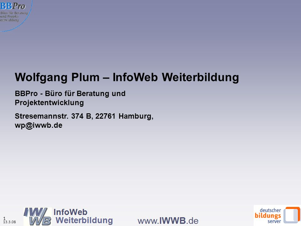 Wolfgang Plum – InfoWeb Weiterbildung