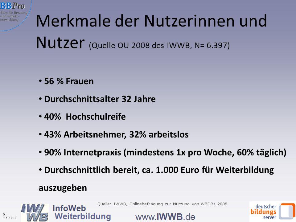 Merkmale der Nutzerinnen und Nutzer (Quelle OU 2008 des IWWB, N= 6