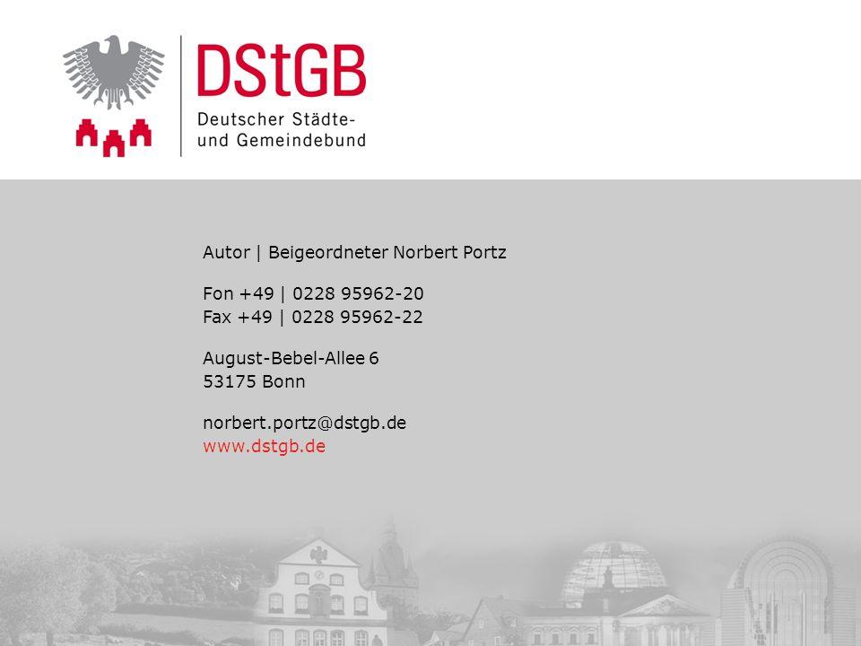 Autor | Beigeordneter Norbert Portz Fon +49 | 0228 95962-20