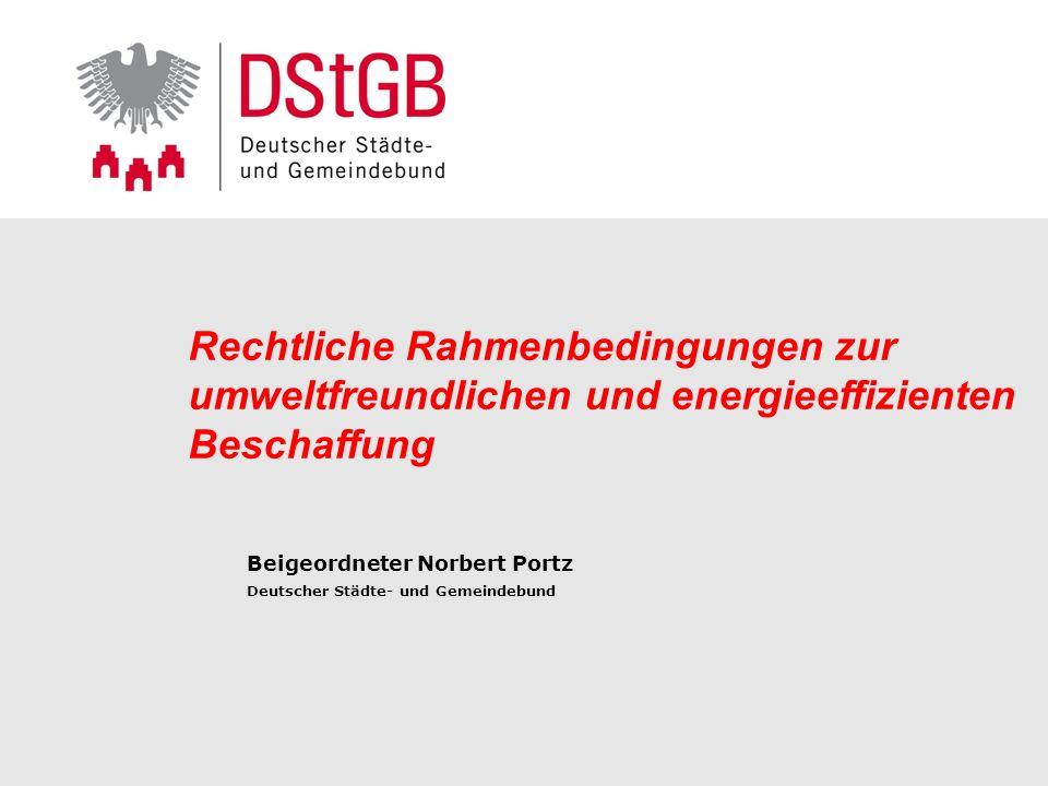 Rechtliche Rahmenbedingungen zur umweltfreundlichen und energieeffizienten Beschaffung