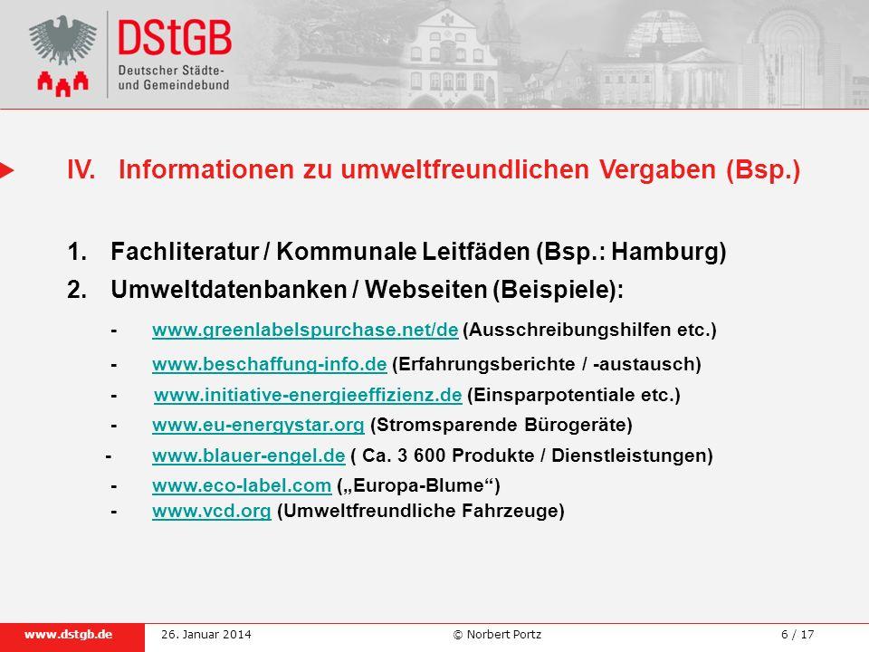 IV. Informationen zu umweltfreundlichen Vergaben (Bsp.)