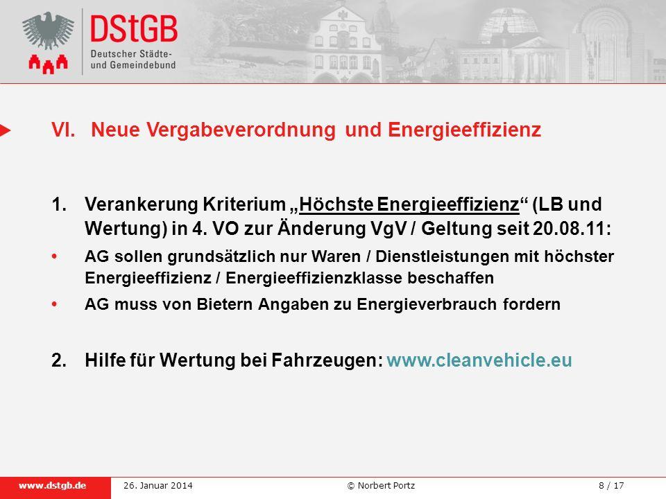 VI. Neue Vergabeverordnung und Energieeffizienz