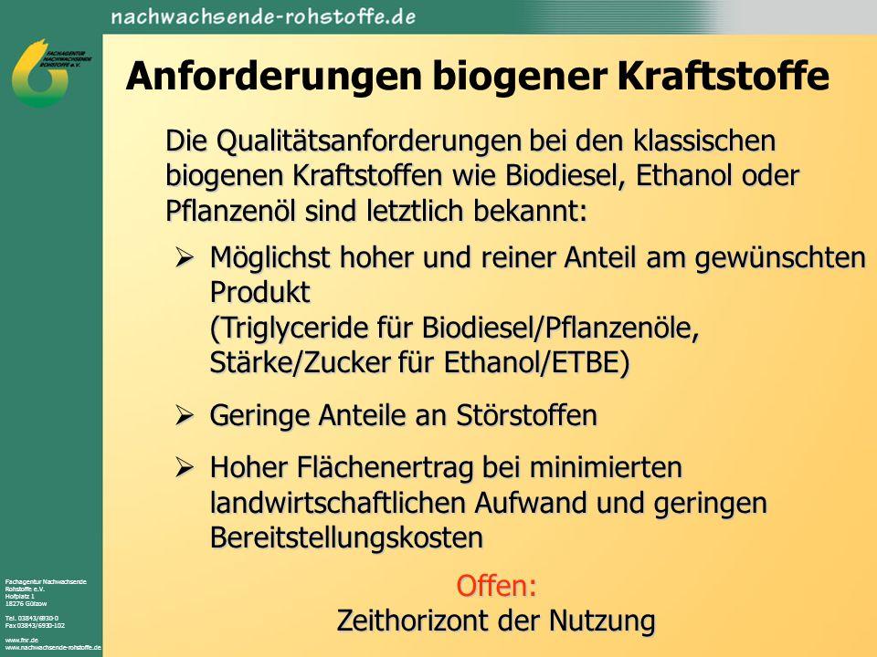 Anforderungen biogener Kraftstoffe