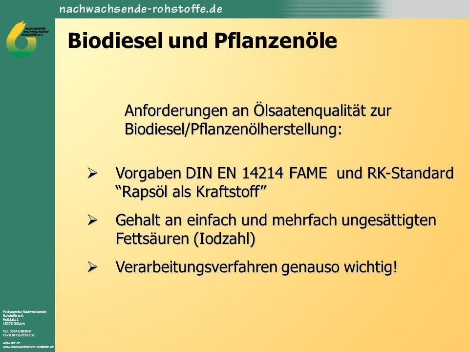 Biodiesel und Pflanzenöle