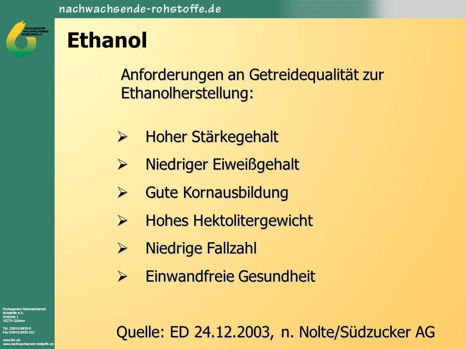 Ethanol Anforderungen an Getreidequalität zur Ethanolherstellung: