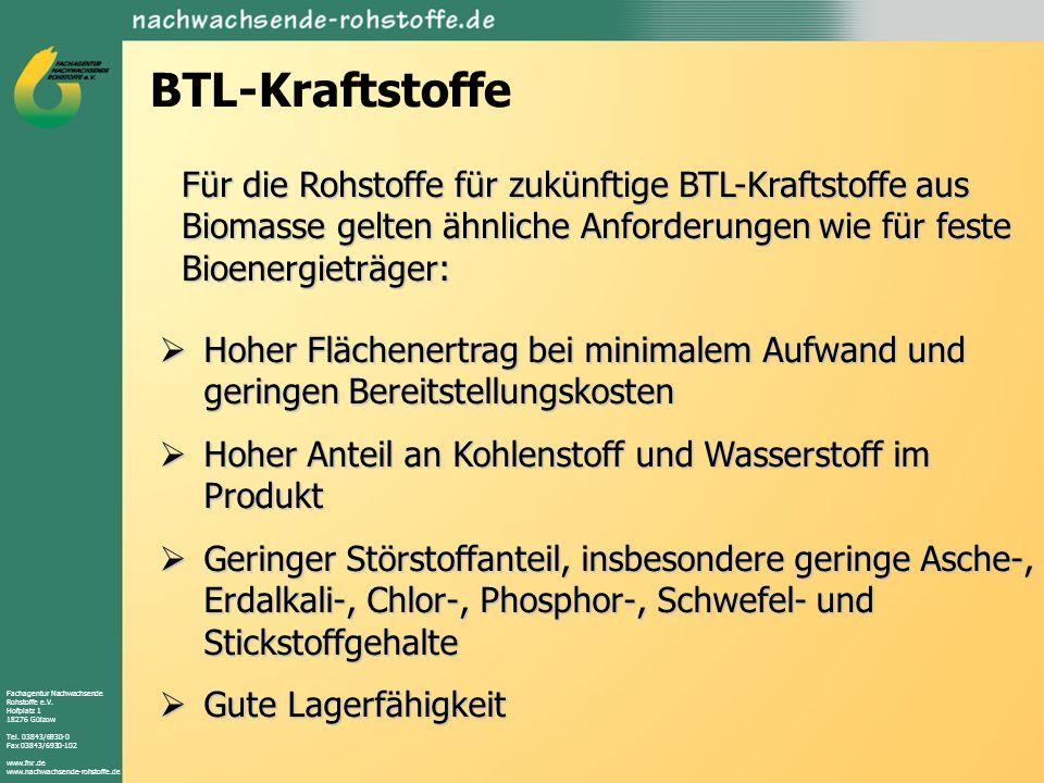 BTL-Kraftstoffe Für die Rohstoffe für zukünftige BTL-Kraftstoffe aus Biomasse gelten ähnliche Anforderungen wie für feste Bioenergieträger: