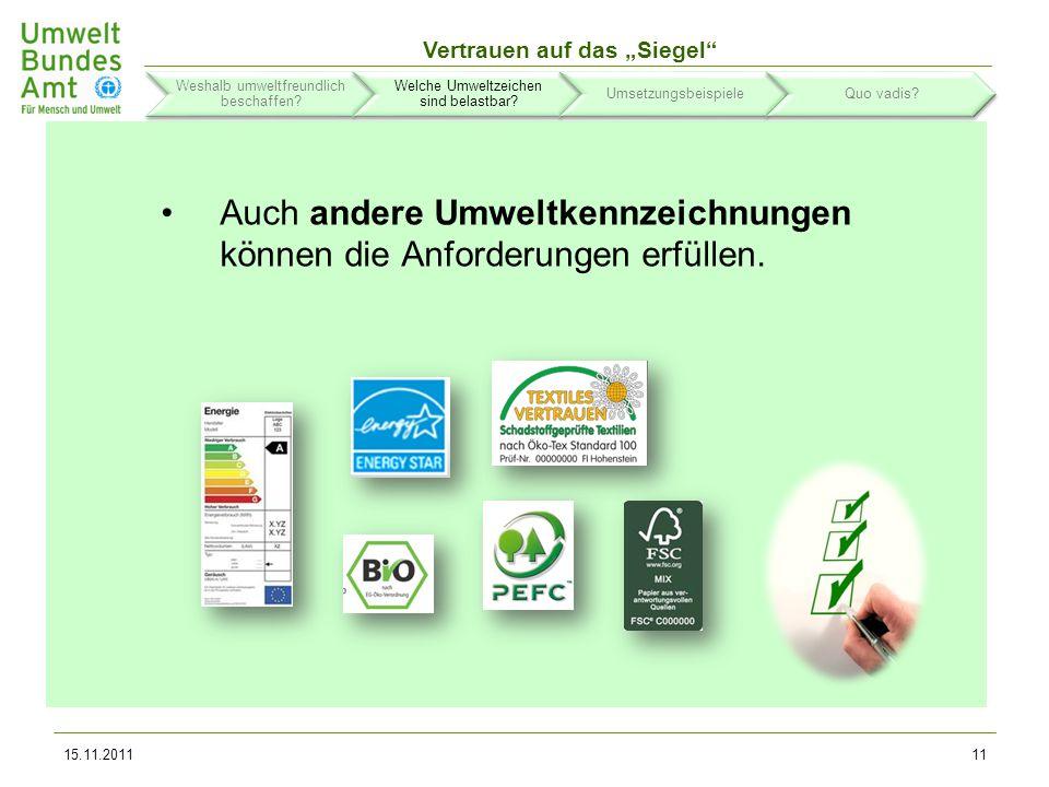 Auch andere Umweltkennzeichnungen können die Anforderungen erfüllen.