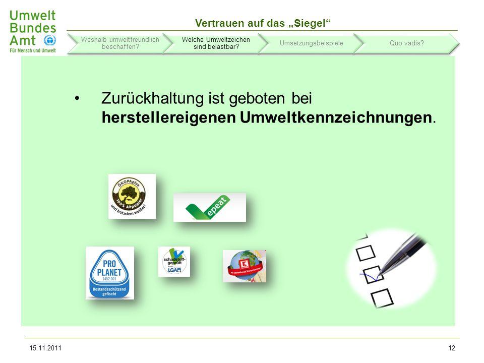 Zurückhaltung ist geboten bei herstellereigenen Umweltkennzeichnungen.