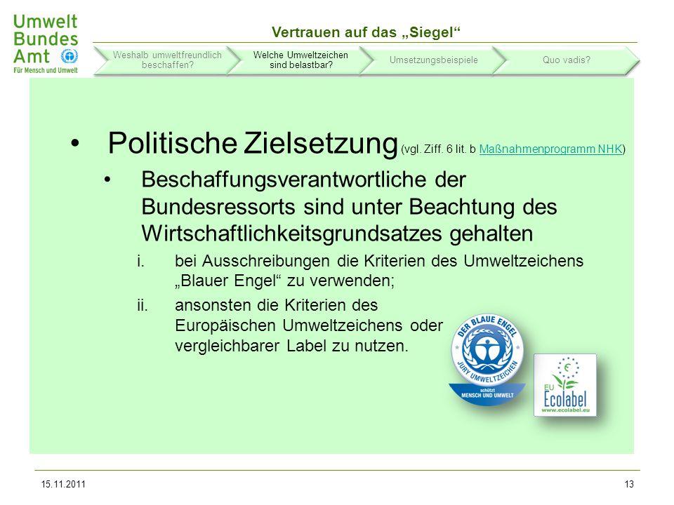 Politische Zielsetzung (vgl. Ziff. 6 lit. b Maßnahmenprogramm NHK)