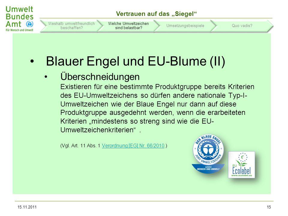 Blauer Engel und EU-Blume (II)