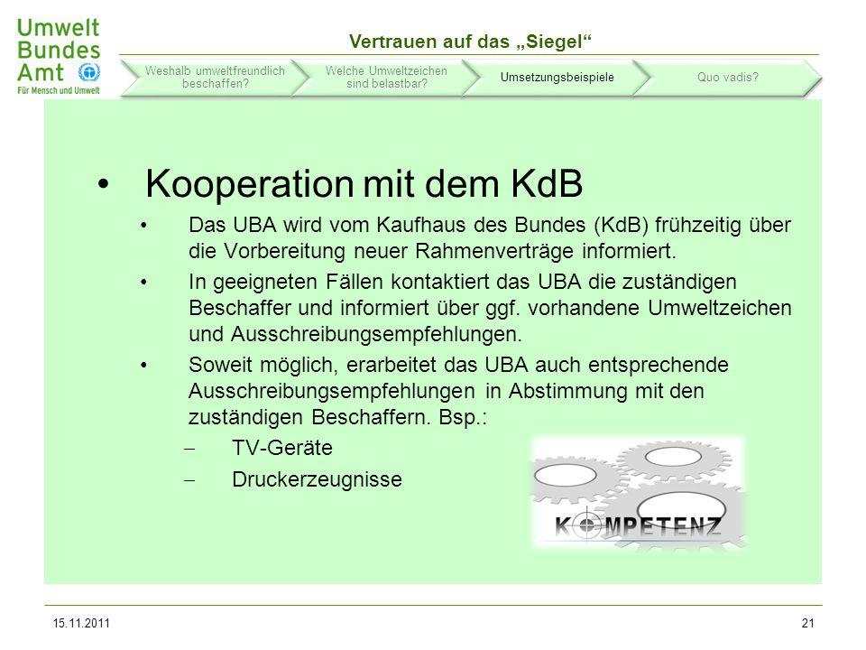 Kooperation mit dem KdB