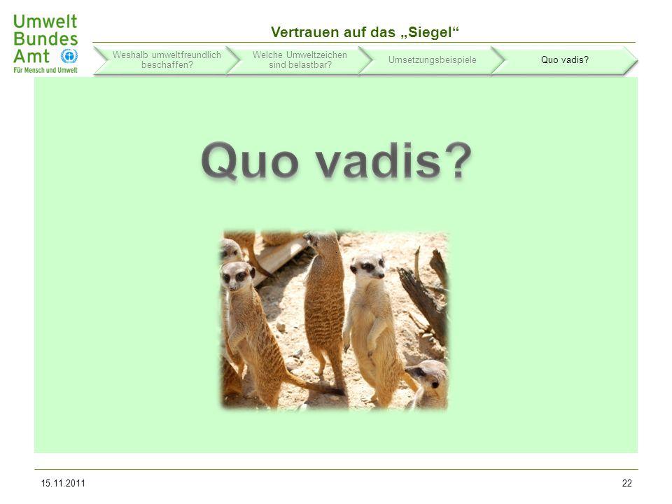 Quo vadis Weshalb umweltfreundlich beschaffen