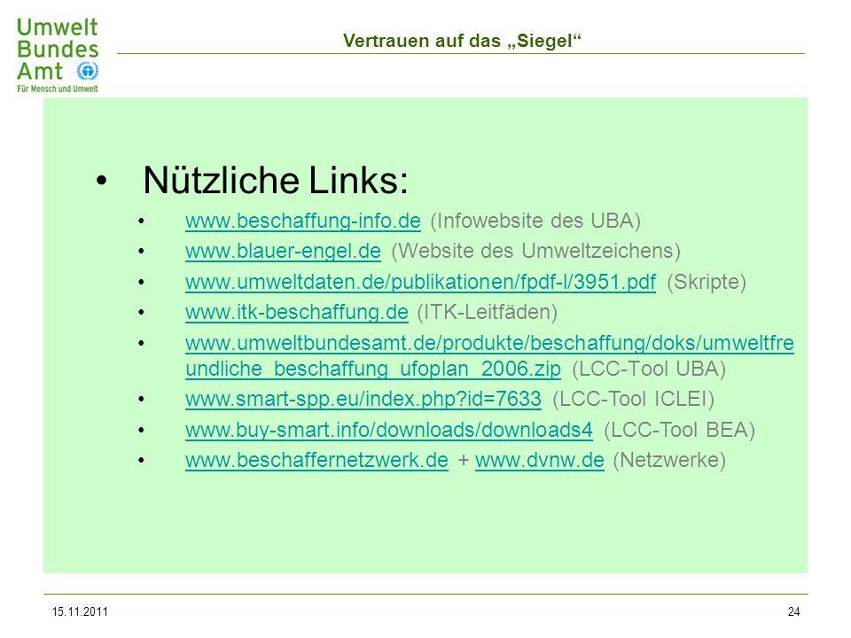 Nützliche Links: www.beschaffung-info.de (Infowebsite des UBA)