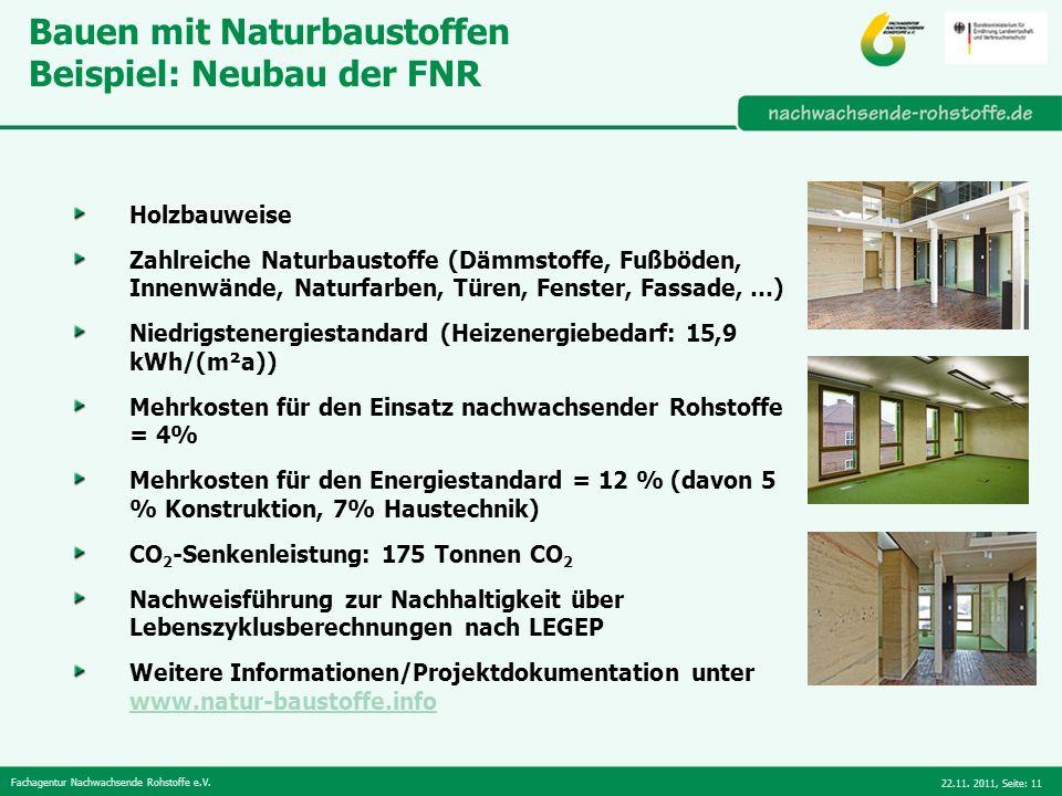 Bauen mit Naturbaustoffen Beispiel: Neubau der FNR