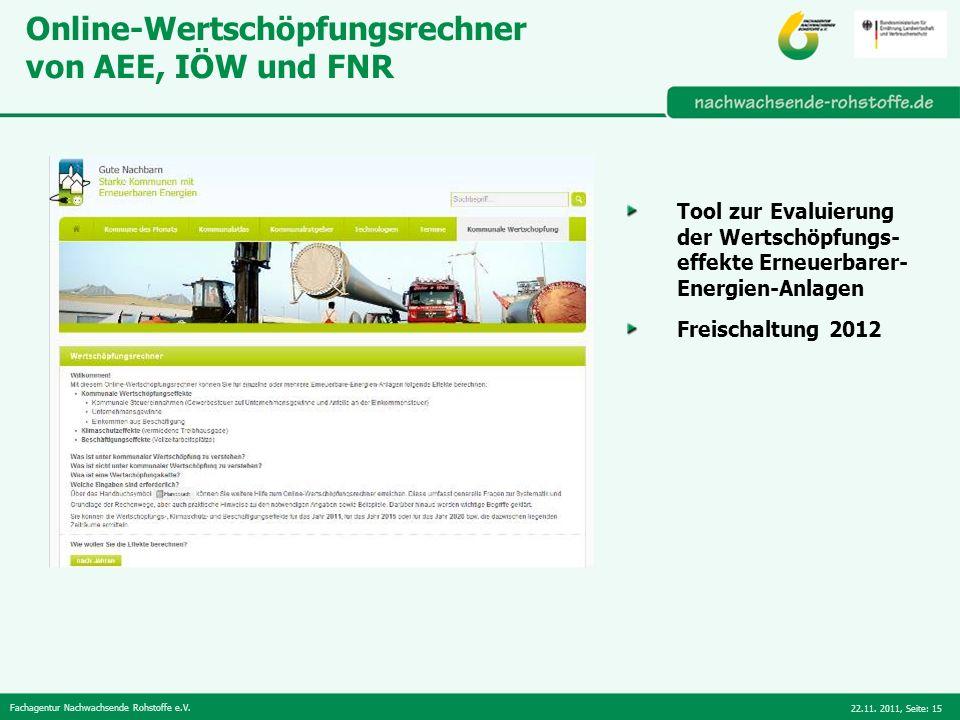 Online-Wertschöpfungsrechner von AEE, IÖW und FNR