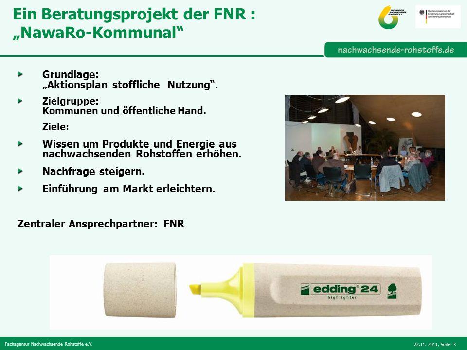 """Ein Beratungsprojekt der FNR : """"NawaRo-Kommunal"""