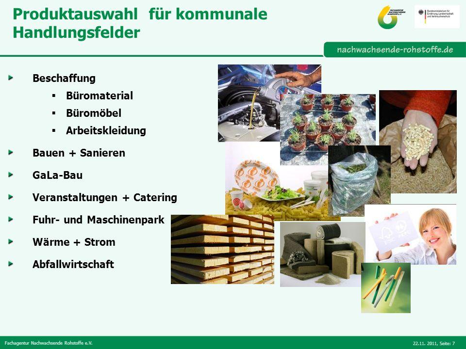 Produktauswahl für kommunale Handlungsfelder