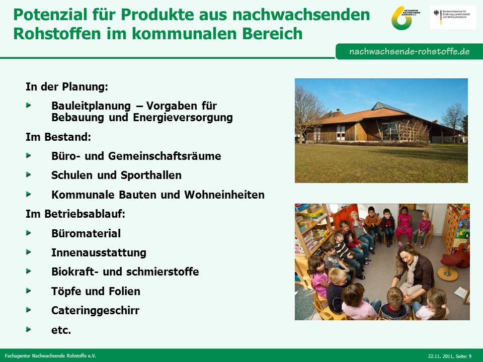 Potenzial für Produkte aus nachwachsenden Rohstoffen im kommunalen Bereich