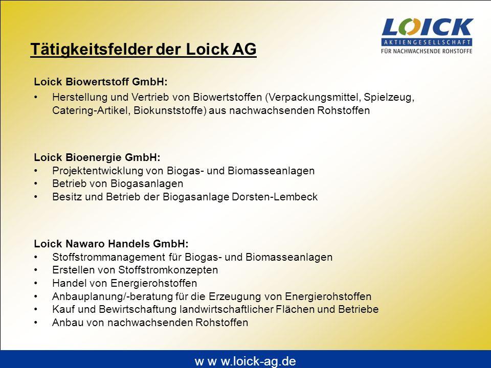 Tätigkeitsfelder der Loick AG