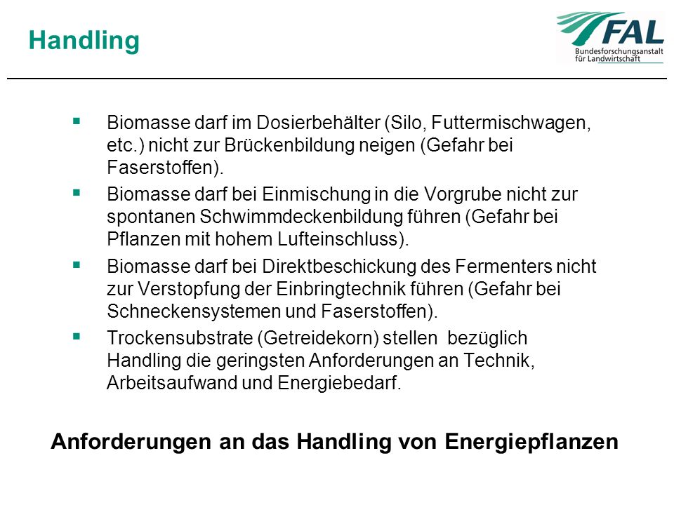 Anforderungen an das Handling von Energiepflanzen