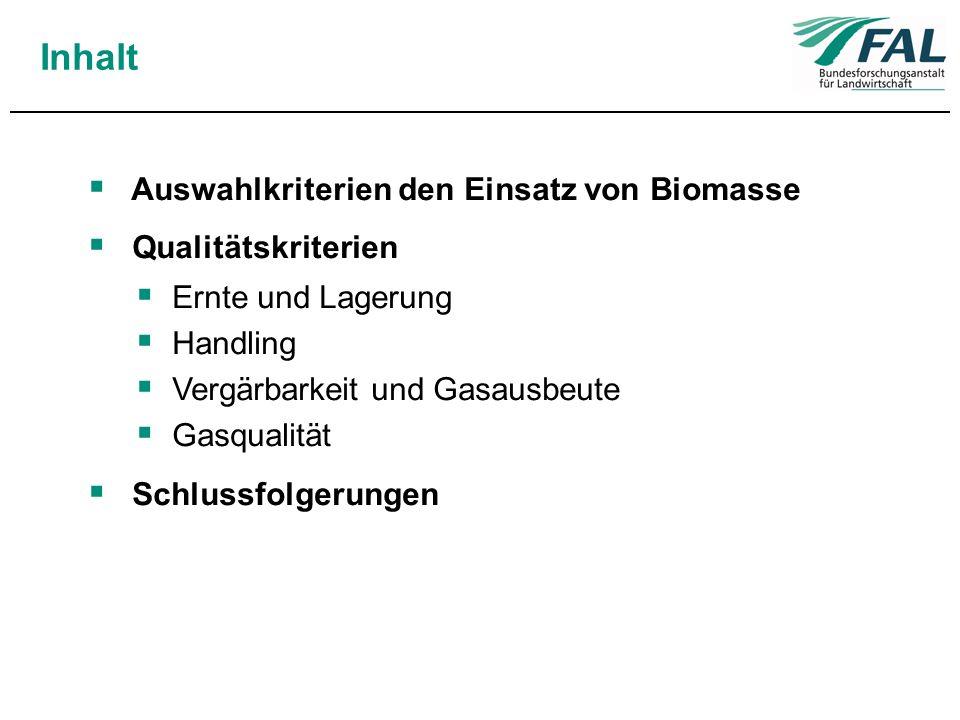 Inhalt Auswahlkriterien den Einsatz von Biomasse Qualitätskriterien