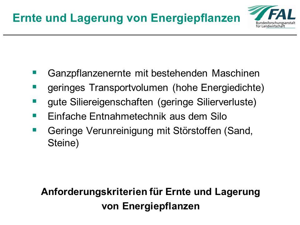 Ernte und Lagerung von Energiepflanzen