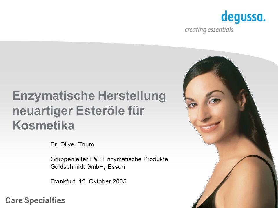Enzymatische Herstellung neuartiger Esteröle für Kosmetika