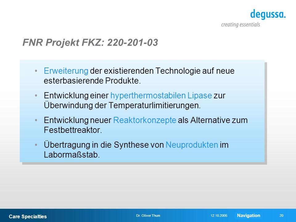 FNR Projekt FKZ: 220-201-03Erweiterung der existierenden Technologie auf neue esterbasierende Produkte.