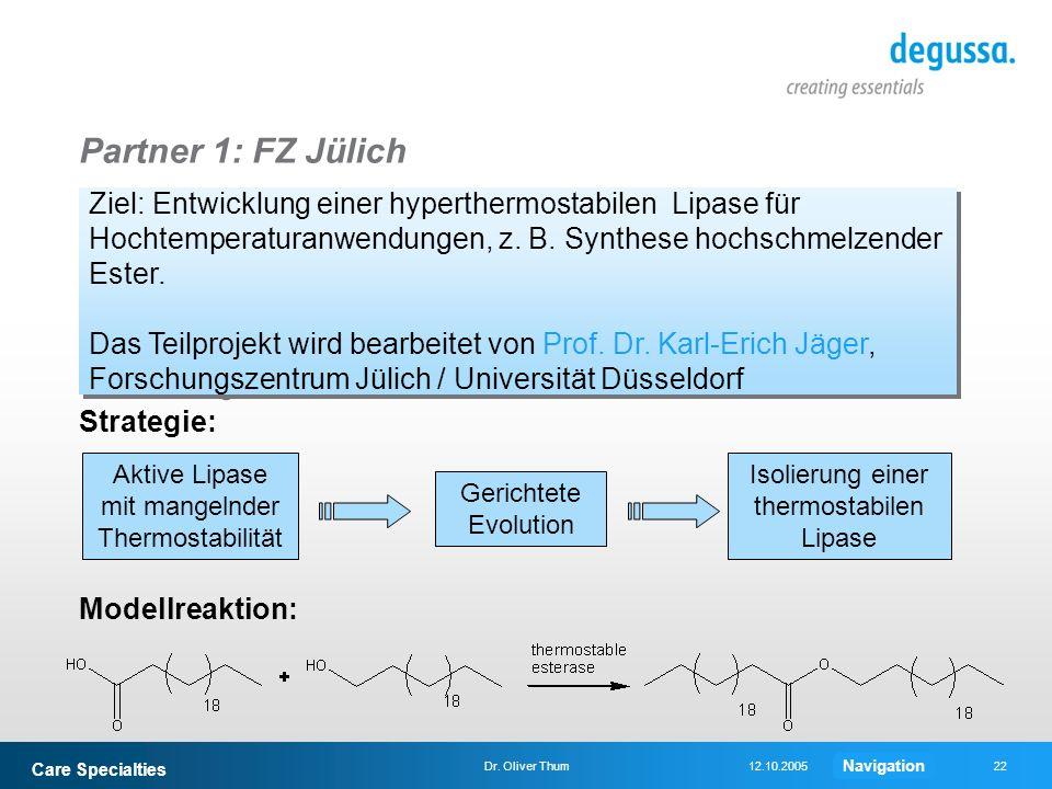 Partner 1: FZ Jülich Ziel: Entwicklung einer hyperthermostabilen Lipase für Hochtemperaturanwendungen, z. B. Synthese hochschmelzender Ester.