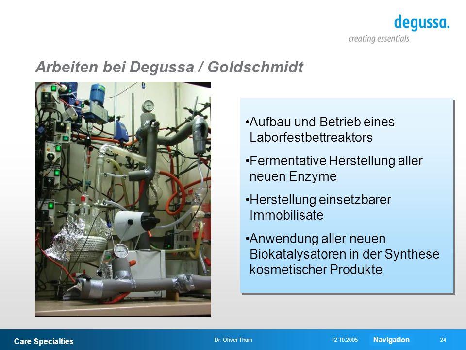 Arbeiten bei Degussa / Goldschmidt