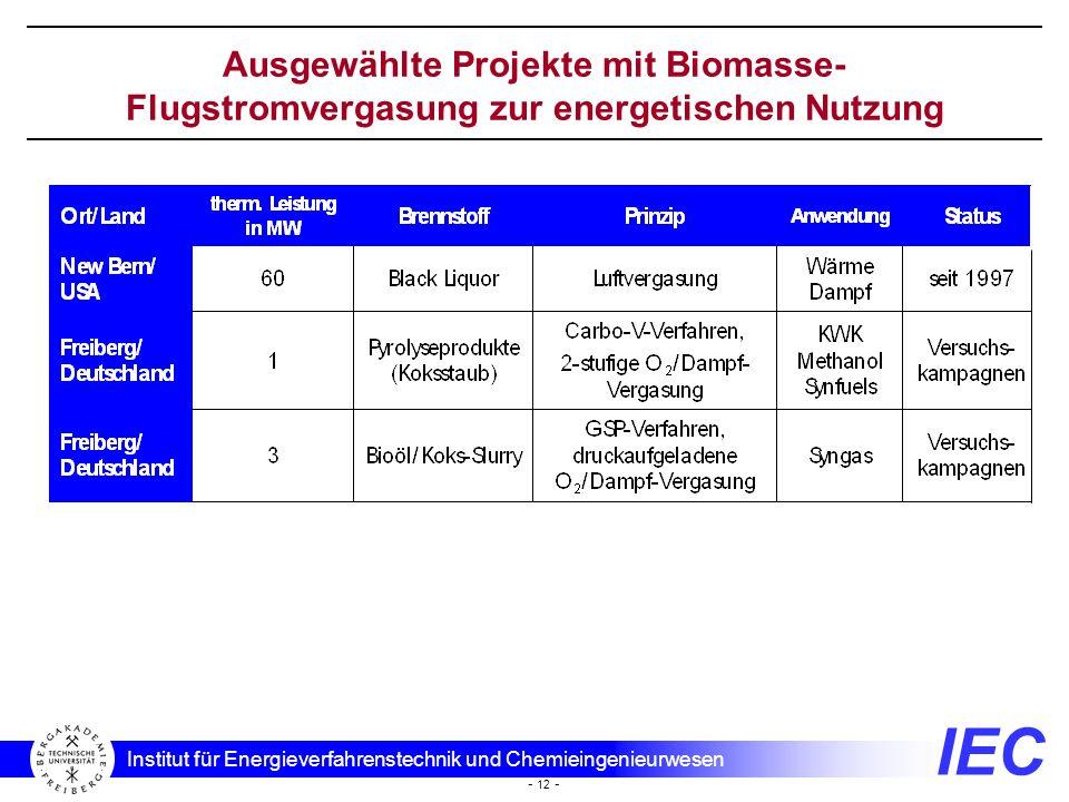Ausgewählte Projekte mit Biomasse-Flugstromvergasung zur energetischen Nutzung