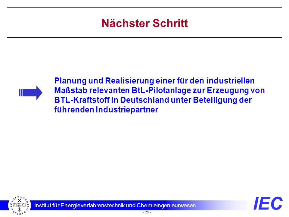 Nächster Schritt Planung und Realisierung einer für den industriellen Maßstab relevanten BtL-Pilotanlage zur Erzeugung von.