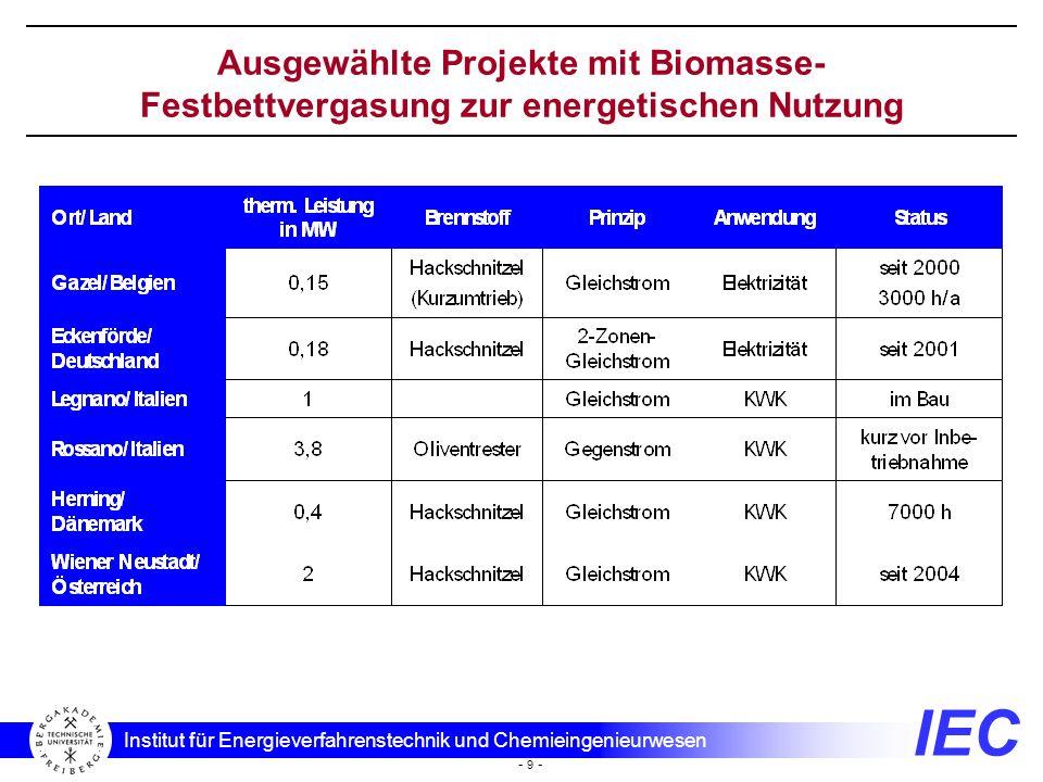 Ausgewählte Projekte mit Biomasse-Festbettvergasung zur energetischen Nutzung