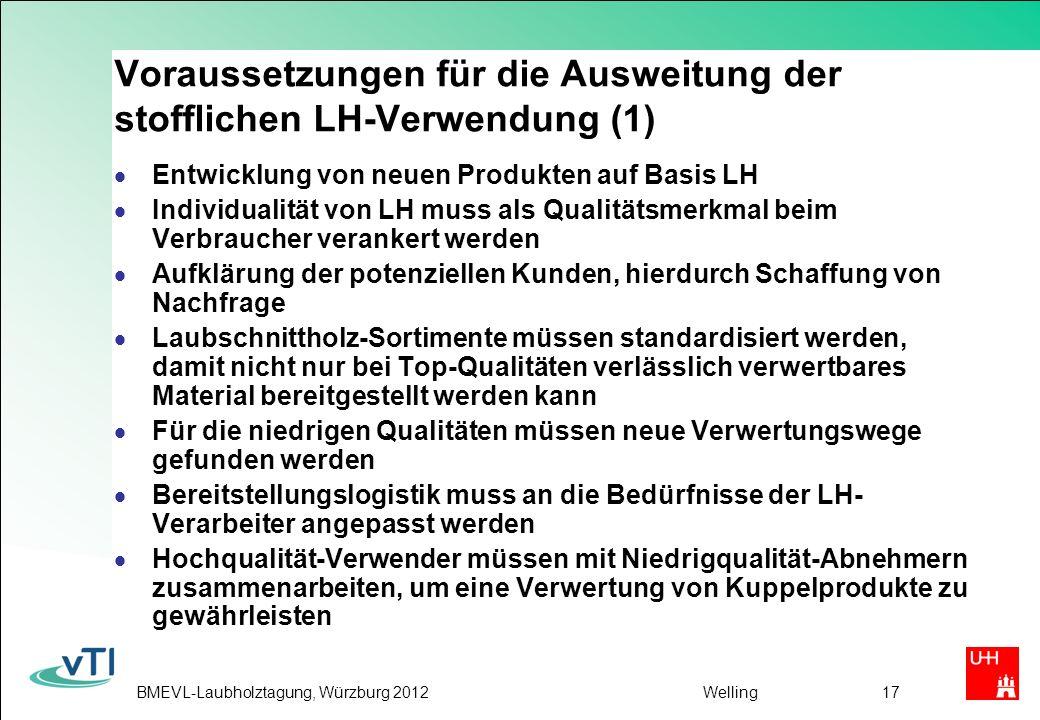 Voraussetzungen für die Ausweitung der stofflichen LH-Verwendung (1)